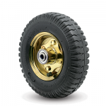Pneumatic Wheel, Black Tread on Polished Brass Hub